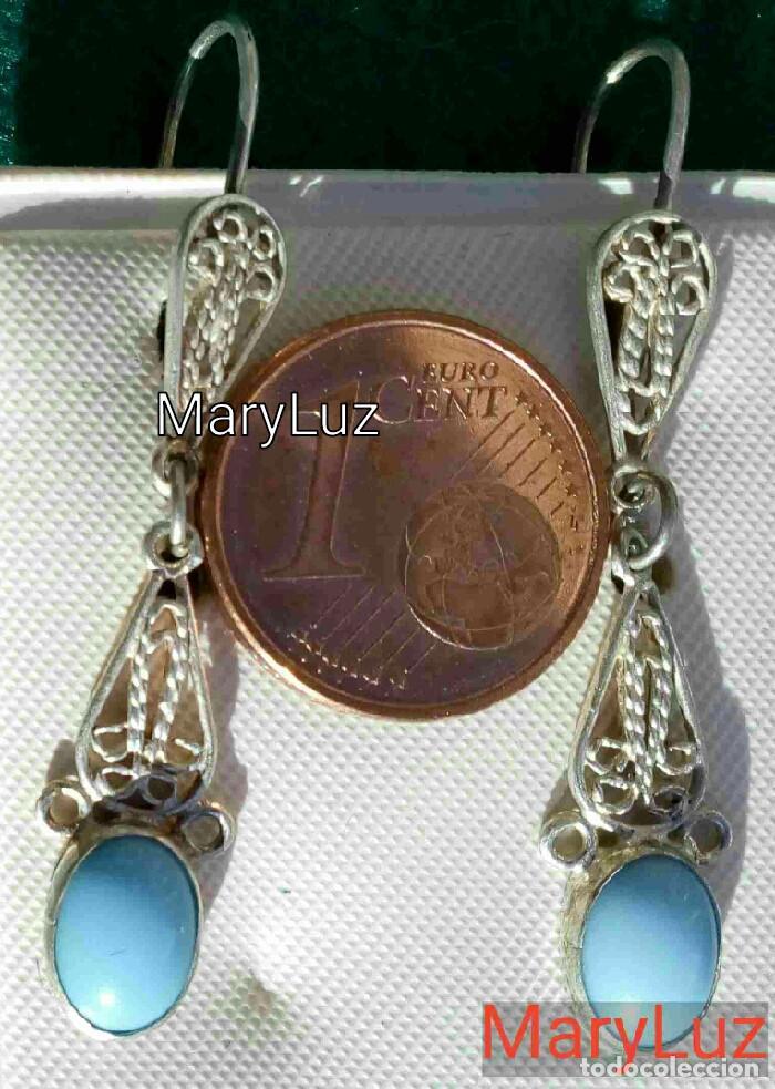 Joyeria: PENDIENTES DE PLATA 925 CON PIEDRA AZUL. Años 80-90. Sin usar. Envío: 1,10 € *. - Foto 4 - 118459443