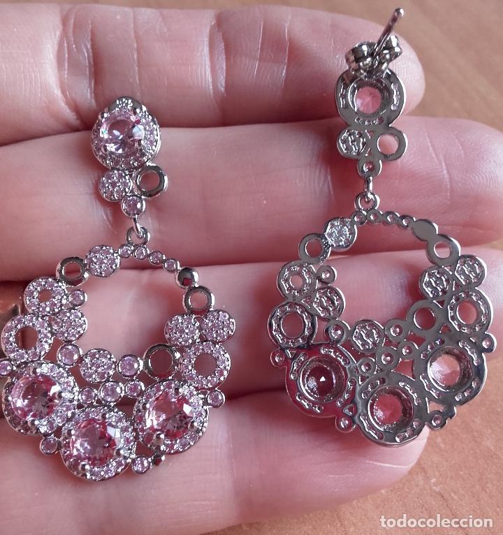 Joyeria: Pendientes / aretes largos con kunzitas facetadas de distintos tamaños en plata 925. - Foto 5 - 129022496