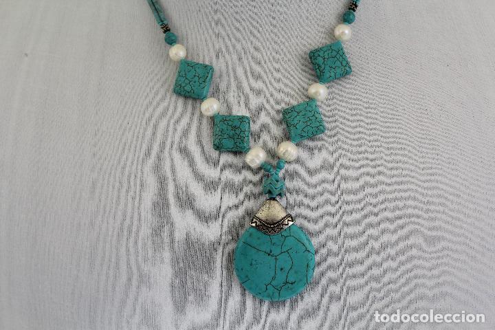 5aceeee1b6c8 Joyeria  collar de turquesas con perlas y colgante tribal de turquesa -  Foto 2 -