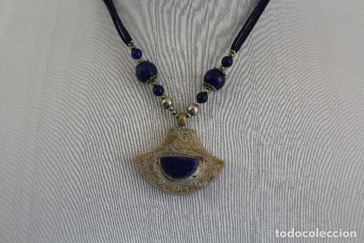 Joyeria: collar colgante etnico con piedras naturales lapislazuli - Foto 2 - 127270931
