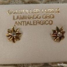 Joyeria: VINTAGE - PEQUEÑOS PENDIENTES GOLDFILLED 14/20 K ANTIALÉRGICO - DOBLE ESTRELLA CON CIRCONITA. Lote 127578523