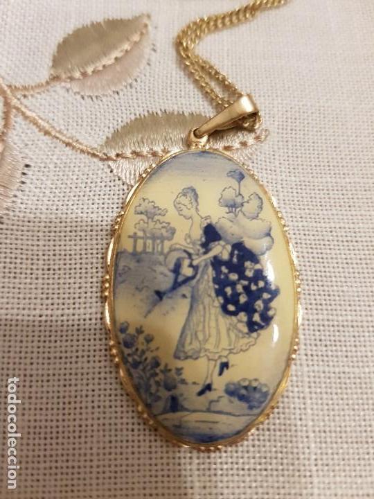 Joyeria: Antiguo colgante de porcelana,pintado a mano. - Foto 3 - 127977927