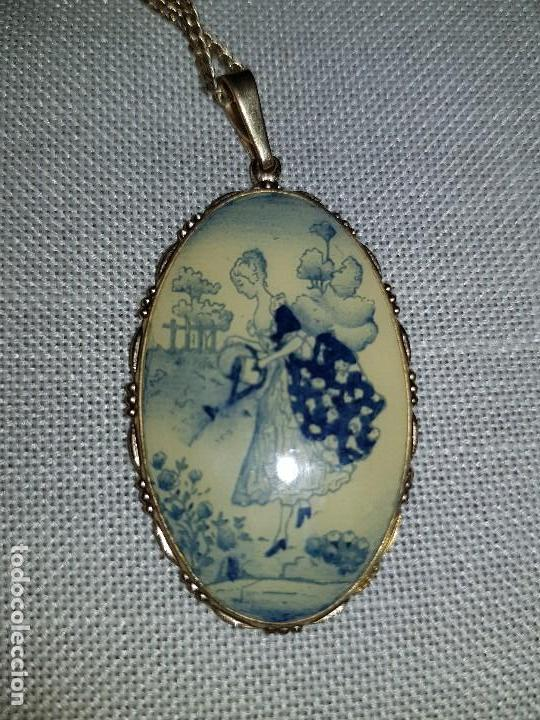 Joyeria: Antiguo colgante de porcelana,pintado a mano. - Foto 4 - 127977927