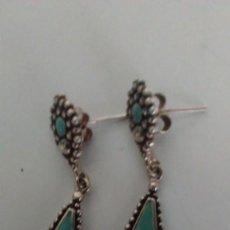 Joyeria - Pendientes de plata labrada y esmalte azul - 129088751