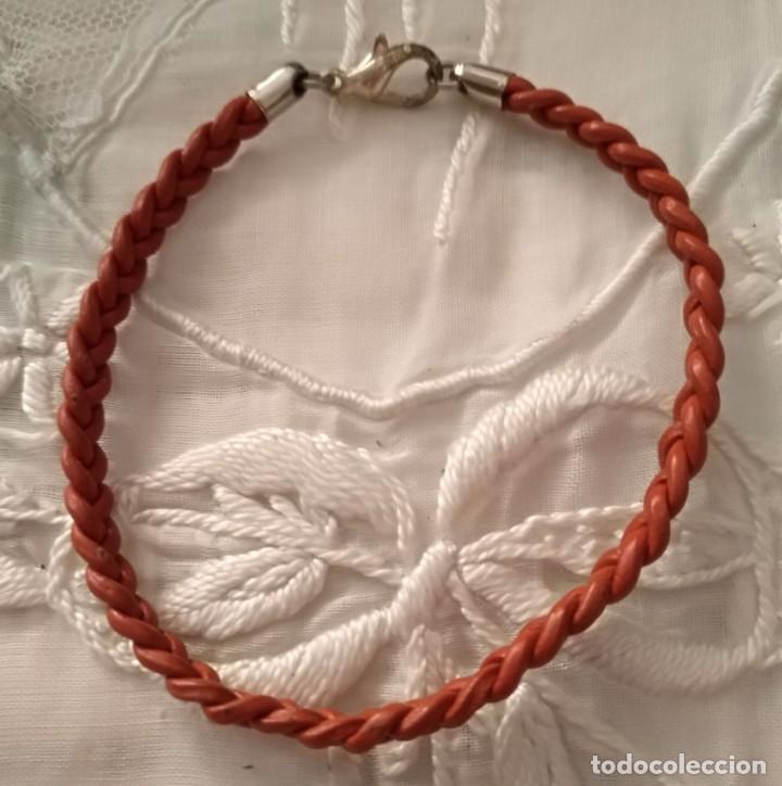 33f04d207b22 19 pulsera cuero trenzada naranja - cierre mosq - Vendido en Venta ...