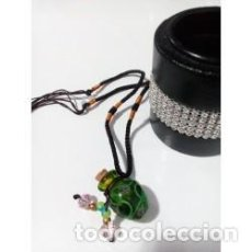 Joyeria: COLLAR BOTELLITA DE CRISTAL MURANO VERDE FLORAL. Lote 133441250