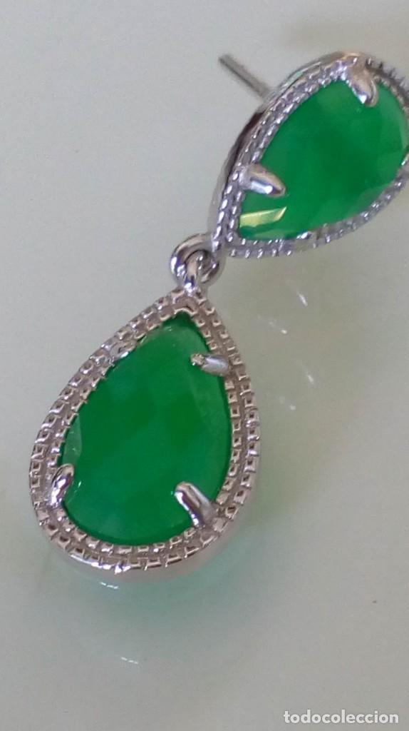Joyeria: Pendientes de plata y símil esmeralda - Foto 6 - 133778330
