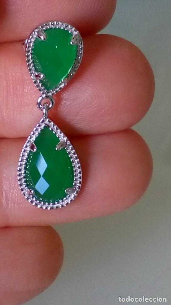 Joyeria: Pendientes de plata y símil esmeralda - Foto 7 - 133778330