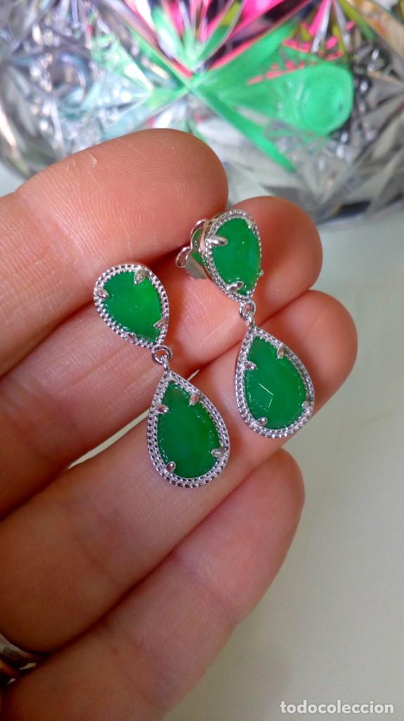 Joyeria: Pendientes de plata y símil esmeralda - Foto 8 - 133778330