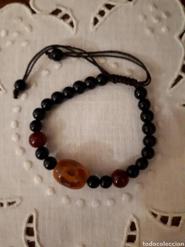 Pulsera ajustable negra abalorios piedra segunda mano