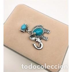 Joyeria: Collar Cordón Colgante Elefante Piedra Natural Turquesa - Foto 2 - 137234674