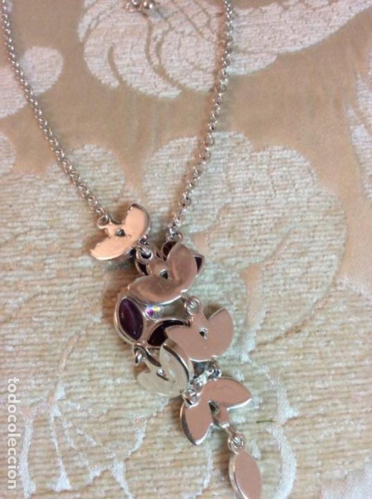 Joyeria: Collar gargantilla de metal plateado con hojas color amatista - Foto 4 - 137590638