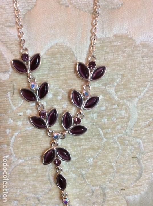 Joyeria: Collar gargantilla de metal plateado con hojas color amatista - Foto 6 - 137590638