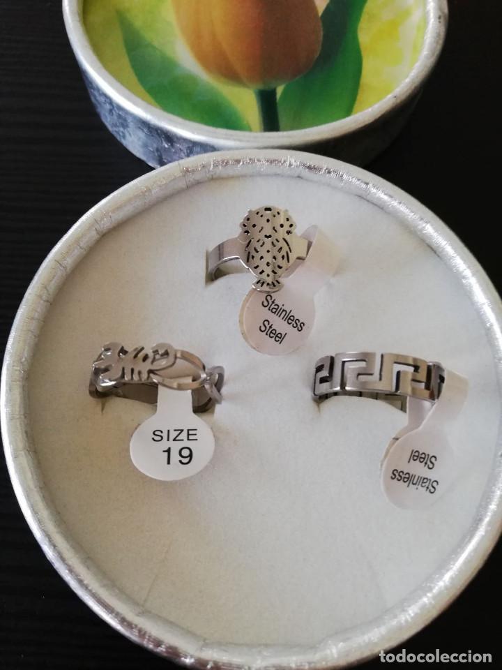 4253aaa30e80 lote de 3 anillos de acero inoxidable talla 19 - Comprar Bisuteria ...
