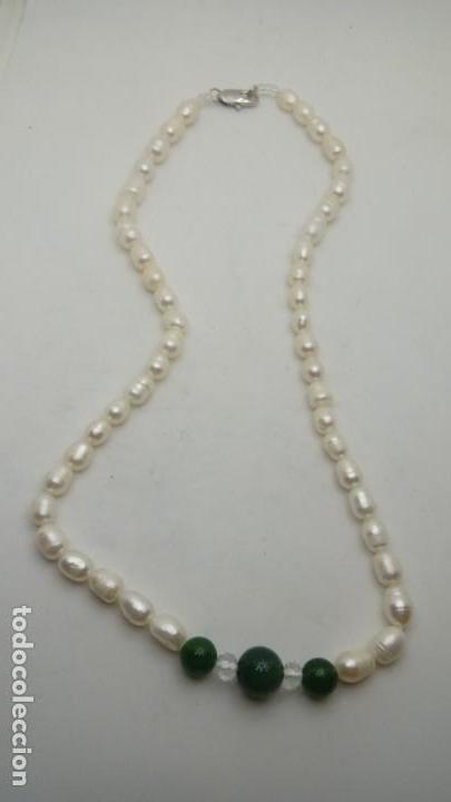 aebeaf6b48d3 collar perlas de rio y jade verde - Comprar Bisuteria en ...