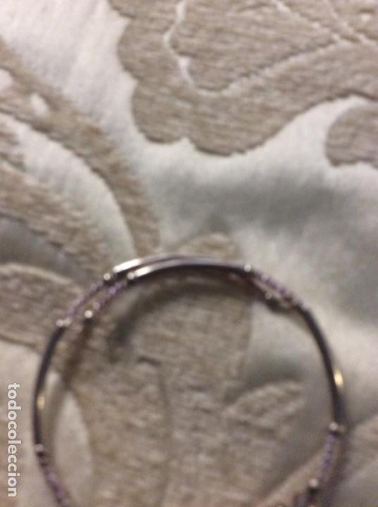 Joyeria: Pulsera de metal plateado con cuentas de cristal color lila - Foto 2 - 139585950