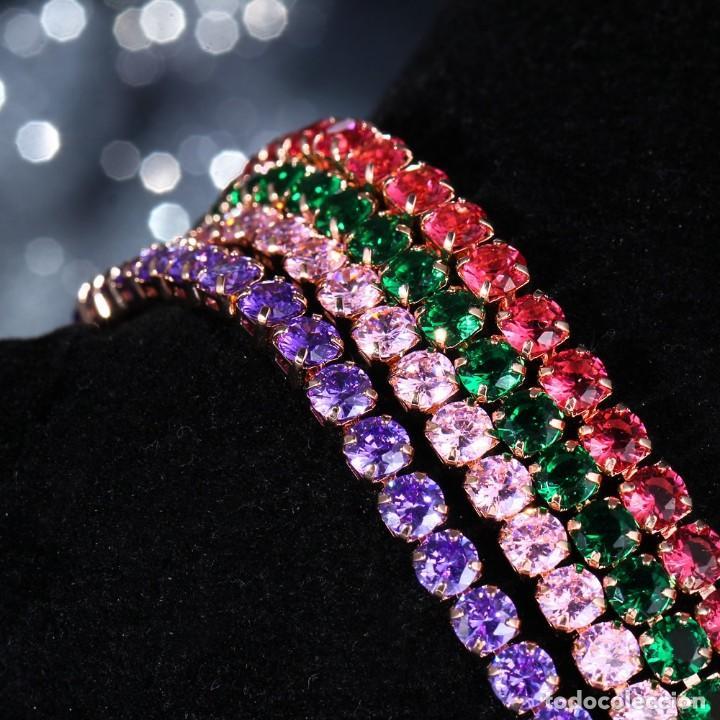 Joyeria: Pulsera Plateada Ajustable Zirconitas Colores - Foto 3 - 139831894
