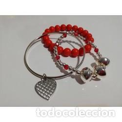 d44fa5c579e8 conjunto de 3 pulseras cuentas rojas corazón - Comprar Bisuteria en ...