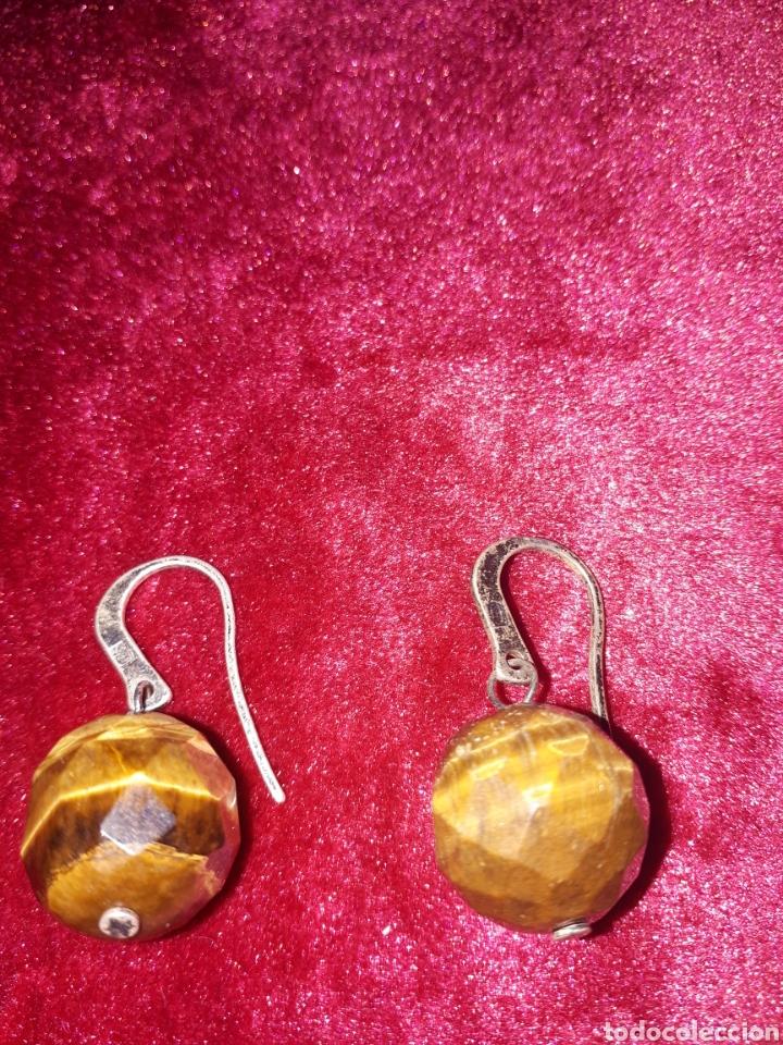 Joyeria: Pendiente antiguos de plata con piedra ojo de tigre - Foto 2 - 142468053