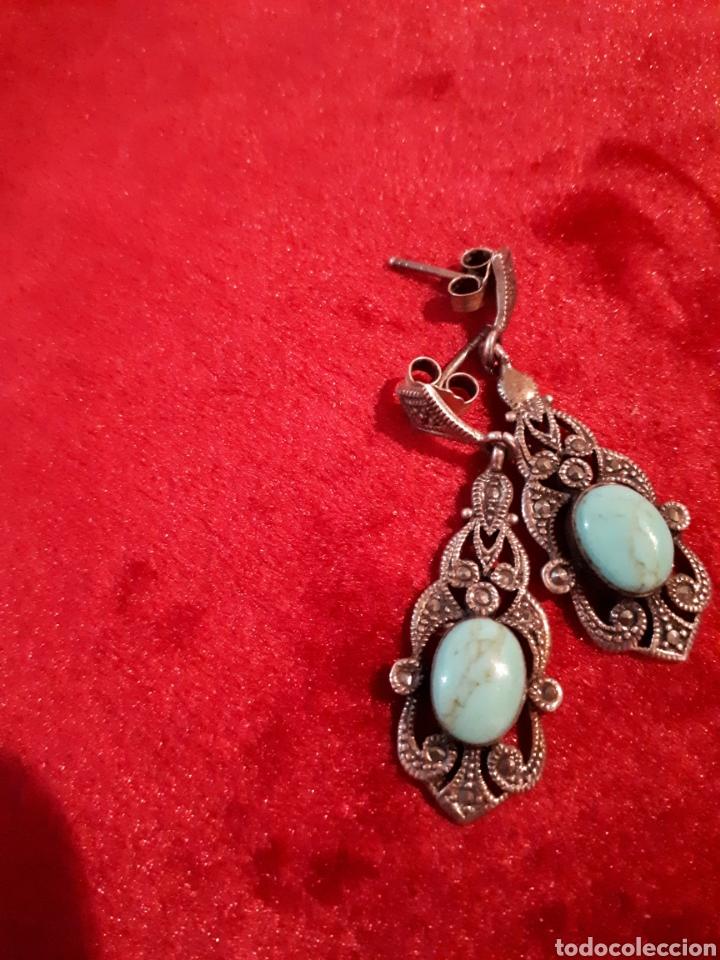 Joyeria: Pendiente antiguos de plata con piedra turquesa - Foto 2 - 142732917