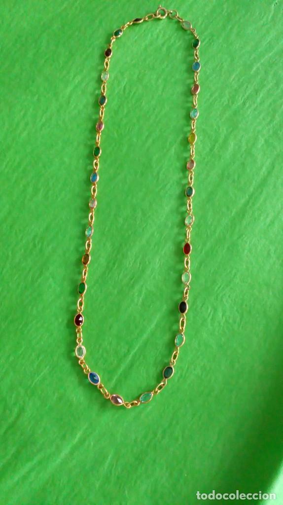 Joyeria: Collar dorado con cristales de colores - Foto 3 - 142830702