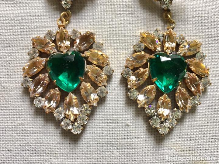 Joyeria: Fabulosos pendientes vintage de cristales verdes - Foto 2 - 142831766