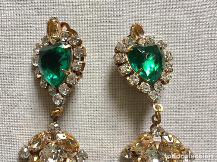 Joyeria: Fabulosos pendientes vintage de cristales verdes - Foto 3 - 142831766