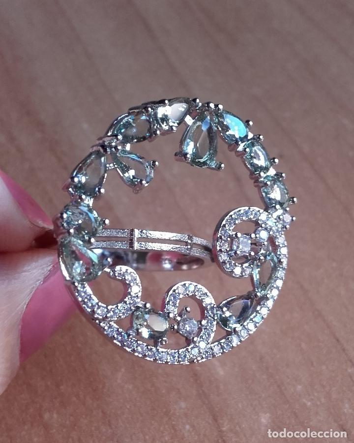 Joyeria: Anillo estilo vintage de gran corona con amatistas verdes en plata 925. Talla 22. - Foto 2 - 142905442