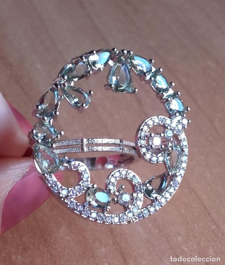 Joyeria: Anillo estilo vintage de gran corona con amatistas verdes en plata 925. Talla 22. - Foto 3 - 142905442