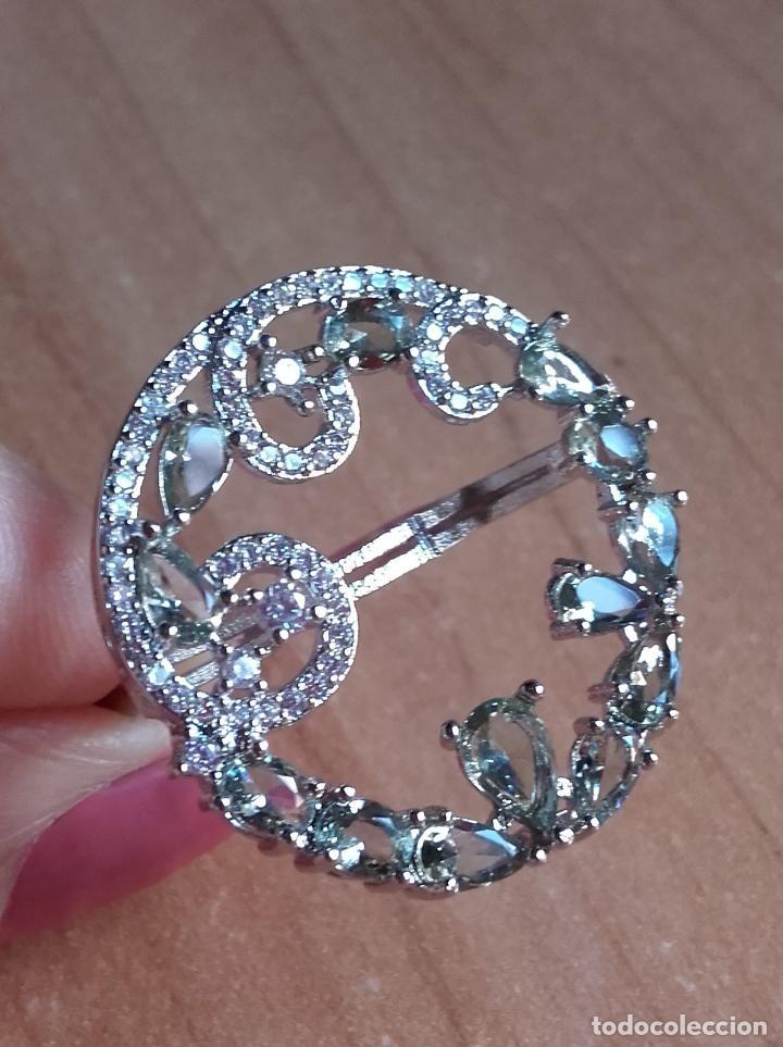 Joyeria: Anillo estilo vintage de gran corona con amatistas verdes en plata 925. Talla 22. - Foto 6 - 142905442