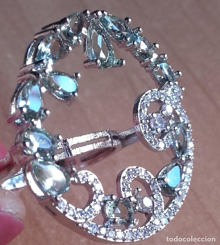 Joyeria: Anillo estilo vintage de gran corona con amatistas verdes en plata 925. Talla 22. - Foto 7 - 142905442