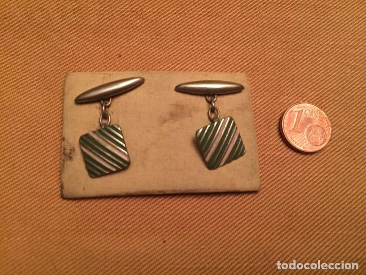 Joyeria: Antiguos botones de puño para camisa caballero de estilo Art Deco sin estrenar de los años 40 - Foto 2 - 143064378