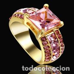 Joyeria: Anillo Chapado en Oro Cuarzo Rosa Modelo 107 Talla 6 America - Foto 2 - 194877157