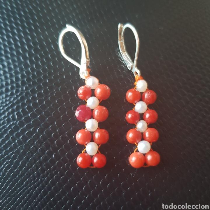 reunirse bonito diseño zapatillas de skate Pendientes de coral rojo y perlas akoya