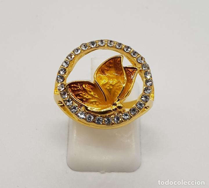 Joyeria: Original anillo de mariposa con baño de oro 14k, esmaltes al fuego tonos ámbar y circonitas . - Foto 2 - 147096666