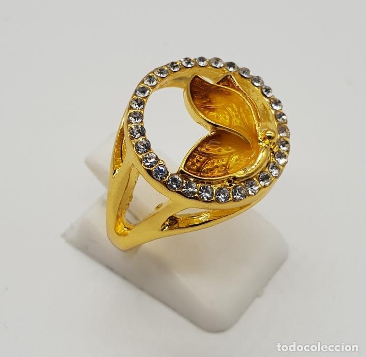 Joyeria: Original anillo de mariposa con baño de oro 14k, esmaltes al fuego tonos ámbar y circonitas . - Foto 3 - 147096666