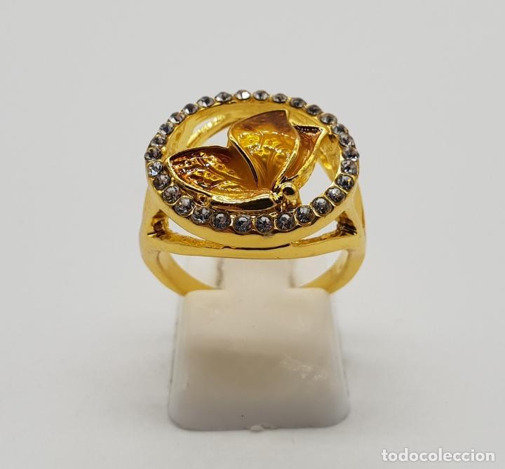 Joyeria: Original anillo de mariposa con baño de oro 14k, esmaltes al fuego tonos ámbar y circonitas . - Foto 4 - 147096666