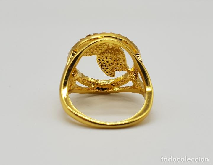 Joyeria: Original anillo de mariposa con baño de oro 14k, esmaltes al fuego tonos ámbar y circonitas . - Foto 5 - 147096666