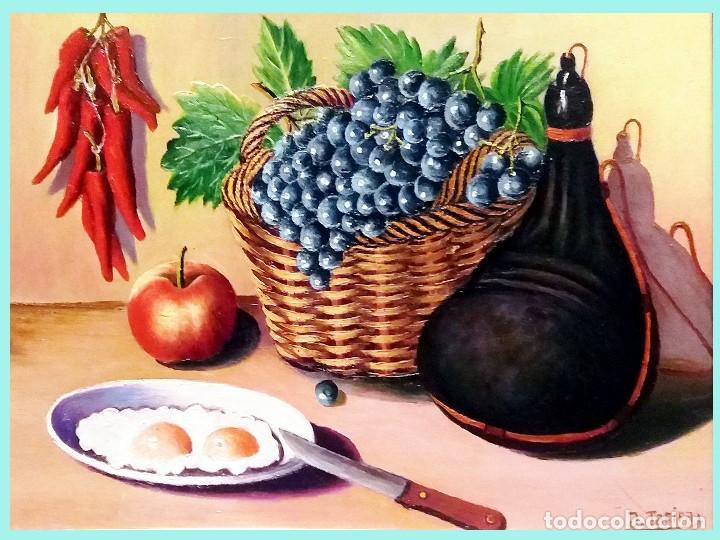 Joyeria: TARIFA VAZQUEZ, JESUS.-BODEGON CESTA DE UVAS Y BOTA -Oleo s/tablex,40 x 30 cm. Firmado y enmarcado. - Foto 2 - 154639158