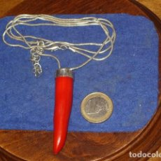 Joyeria: COLGANTE GUINDILLA IMITACION CORAL ROJO,RESINA.. Lote 154664134