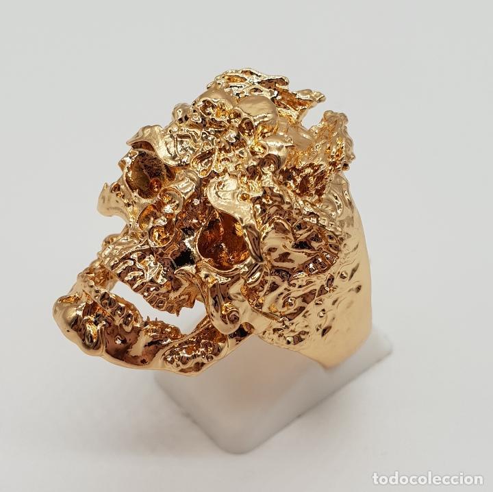 Joyeria: Espectacular anillo de estilo punk gotico, calavera con dragones laminado en oro de ley . - Foto 2 - 170748037