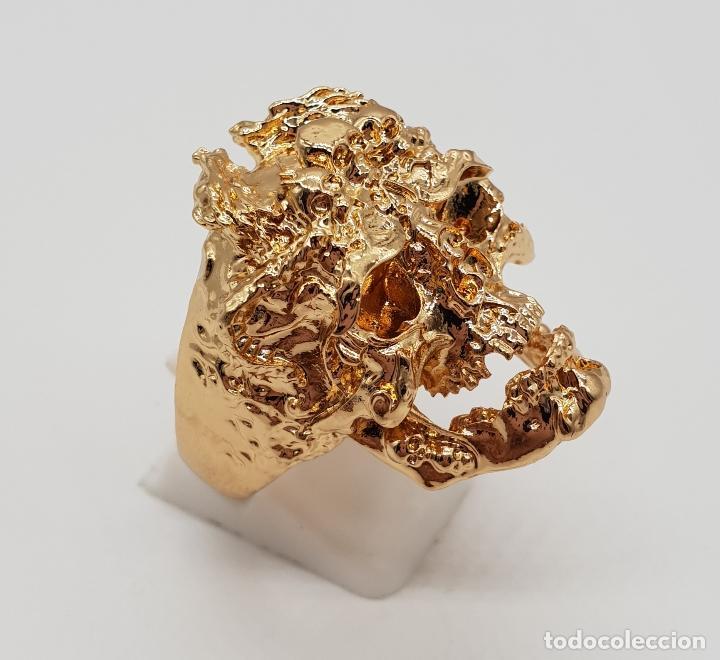 Joyeria: Espectacular anillo de estilo punk gotico, calavera con dragones laminado en oro de ley . - Foto 4 - 170748037