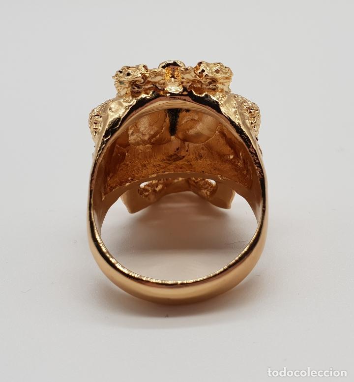 Joyeria: Espectacular anillo de estilo punk gotico, calavera con dragones laminado en oro de ley . - Foto 5 - 170748037