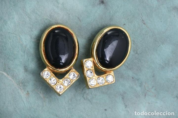 Joyeria: Pendientes de clip vintage, pendientes dorados y negros, pendientes brillantes, pendientes ovalados, - Foto 3 - 155994614