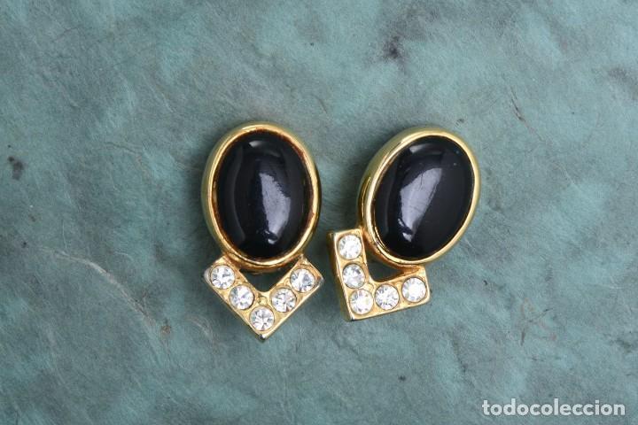 Joyeria: Pendientes de clip vintage, pendientes dorados y negros, pendientes brillantes, pendientes ovalados, - Foto 4 - 155994614