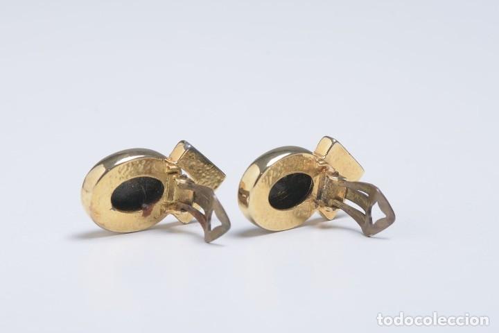 Joyeria: Pendientes de clip vintage, pendientes dorados y negros, pendientes brillantes, pendientes ovalados, - Foto 9 - 155994614