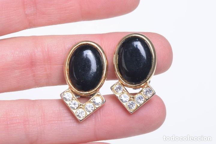 Joyeria: Pendientes de clip vintage, pendientes dorados y negros, pendientes brillantes, pendientes ovalados, - Foto 6 - 155994614