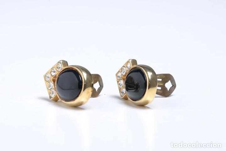 Joyeria: Pendientes de clip vintage, pendientes dorados y negros, pendientes brillantes, pendientes ovalados, - Foto 7 - 155994614