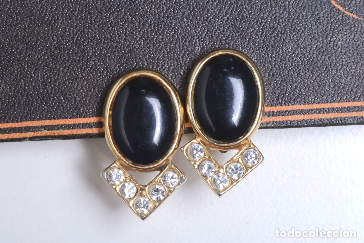 Joyeria: Pendientes de clip vintage, pendientes dorados y negros, pendientes brillantes, pendientes ovalados, - Foto 11 - 155994614