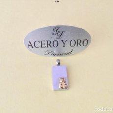 Joyeria: COLGANTE RECTANGULAR OSITO. ACERO Y ORO. NUEVO SIN USAR. Lote 158164158